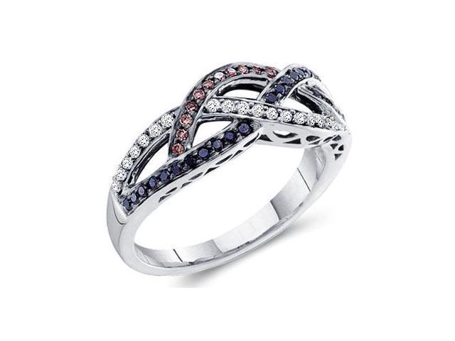 Brown & Black Diamond Ring 14k White Gold Womens Band (1/3 Carat)