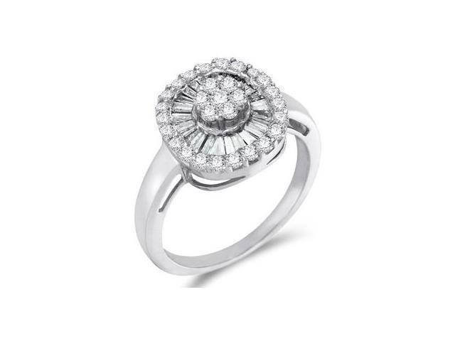 Cluster Diamond Ring 14k White Gold Right Hand Anniversary (3/4 Carat)