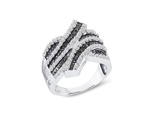 Black Diamond Ring Womens Fashion Band 10k White Gold (1.00 Carat)
