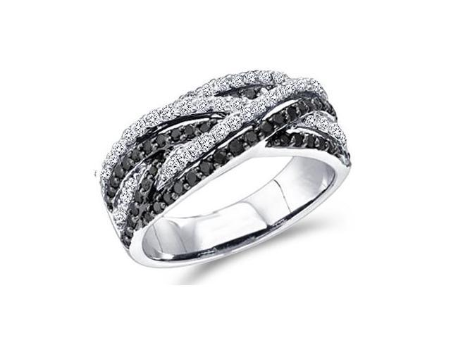 Black Diamond Ring Womens Fashion Band 10k White Gold (0.88 Carat)