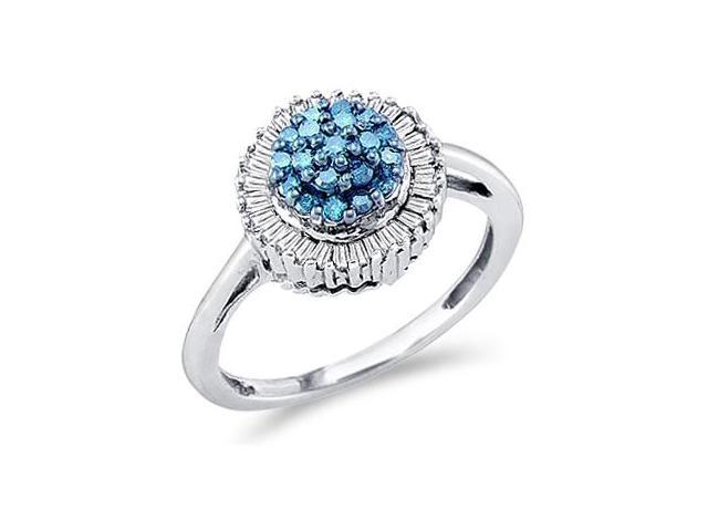Aqua Blue Diamond Cluster Ring 10k White Gold Womens Cocktail (1/2 CT)