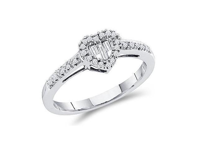 Heart Diamond Ring 14k White Gold Womens Band (0.15 Carat)