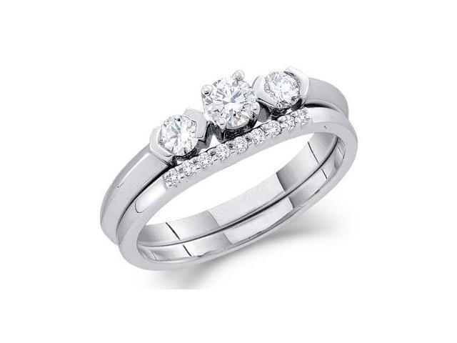 Three Stone Diamond Engagement Rings Set 14k White Gold Bridal 1/2 CT
