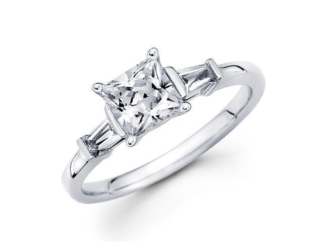 Semi Mount 3 Stone Princess Diamond Engagement Ring White Gold 1/4 CT