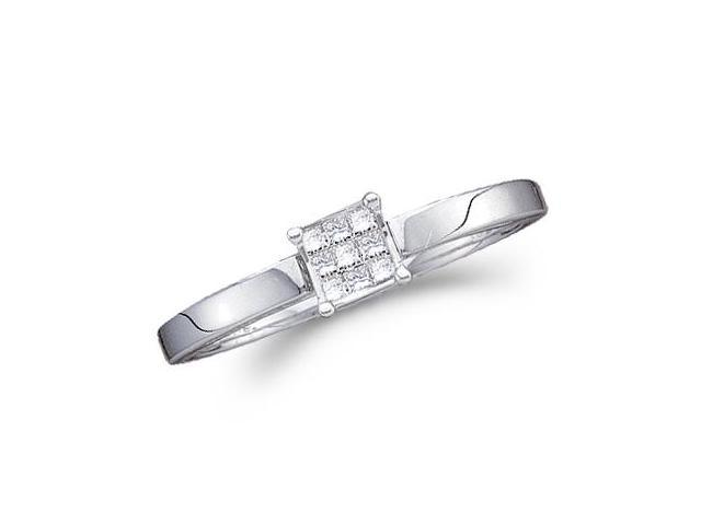 Diamond Ring Engagement 14k White Gold Princess Solitaire Set (1/10ct)