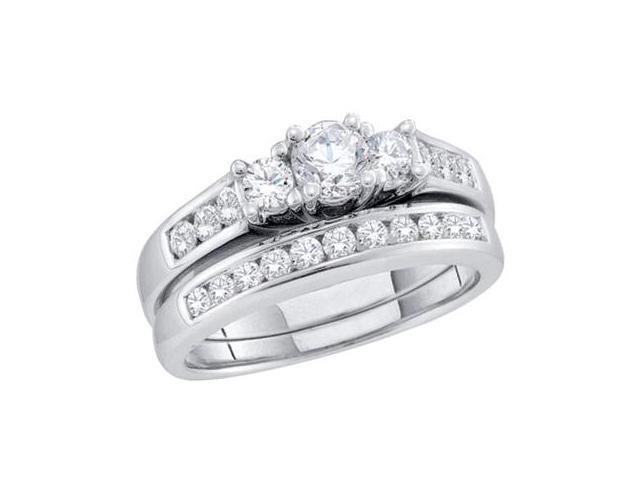 Three Stone Diamond Engagement Wedding Rings 14k White Gold (1.00 CT)