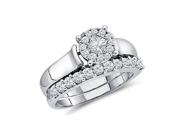 Engagement Diamond Rings Set Wedding 14k White Gold (1.00 Carat)