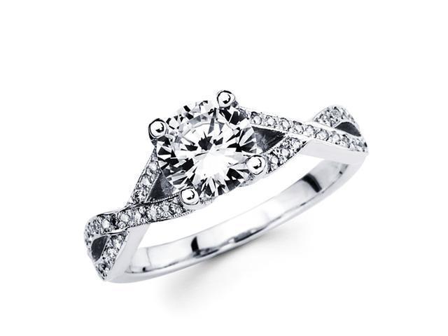 Semi Mount Diamond Engagement Ring 18k White Gold Split Shank (1/4 CT)