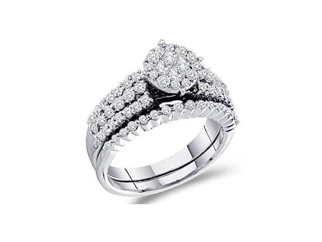 Diamond Engagement Rings Set Wedding 14k White Gold Bridal (1.16 CT)