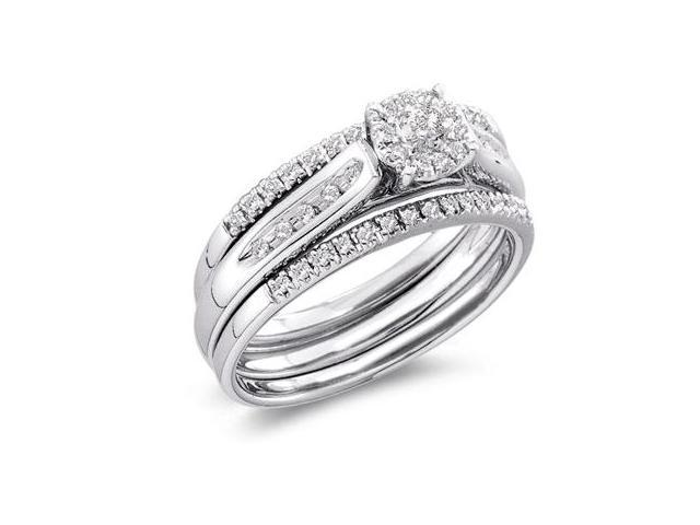 Diamond Rings Bridal Set 14k White Gold Engagement Wedding (1/4 Carat)