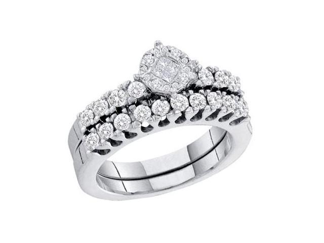 Princess Diamond Engagement Rings Wedding Set 14k White Gold (0.87 CT)