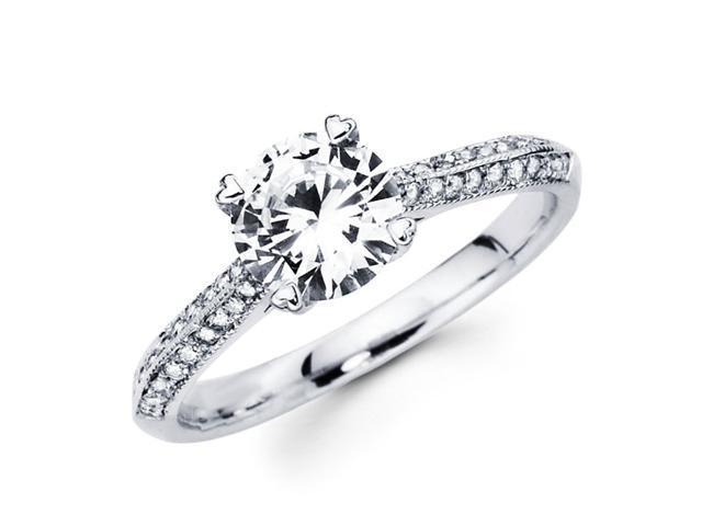 Semi Mount Diamond Engagement Ring 18k White Gold Tapered Cathedral