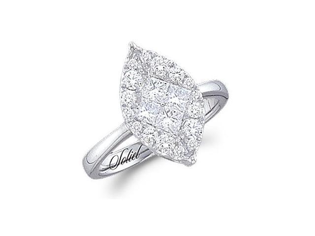 Diamond Engagement Ring Marquise Solitaire Set 14k White Gold .99 CT