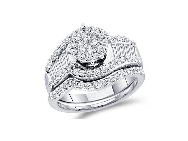 Diamond Engagement Rings Set Wedding Band 14k White Gold (1.25 Carat)