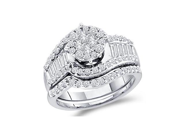Diamond Engagement Rings Set Wedding Band 14k White Gold (1.25 Carat)