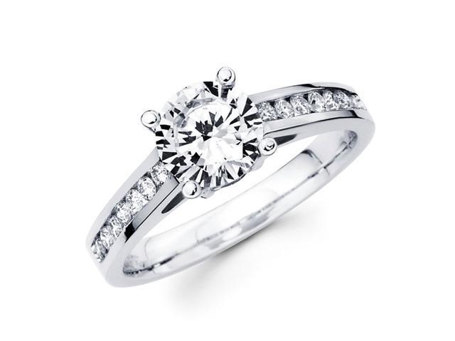 Semi Mount Diamond Engagement Ring 18k White Gold Heart Accent (1/4ct)