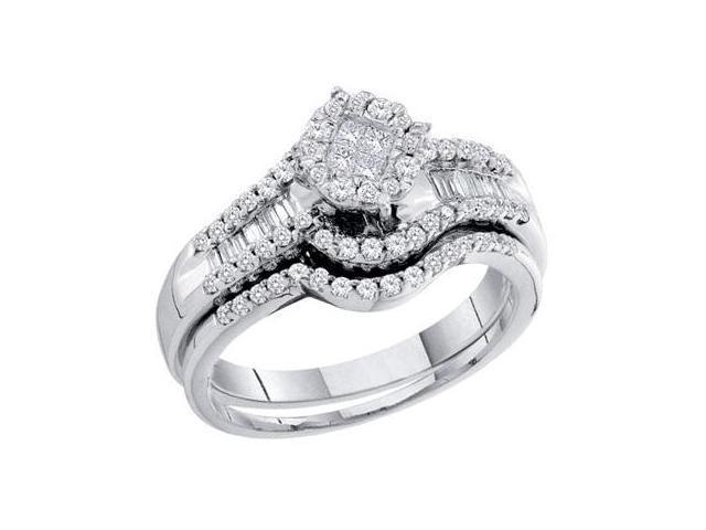 Diamond Engagement Ring and Wedding Band Bridal Set White Gold 2/3 CT
