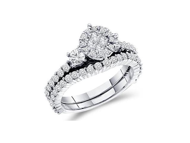 Diamond Engagement Ring Bridal Wedding Set 14k White Gold (1.37 Carat)