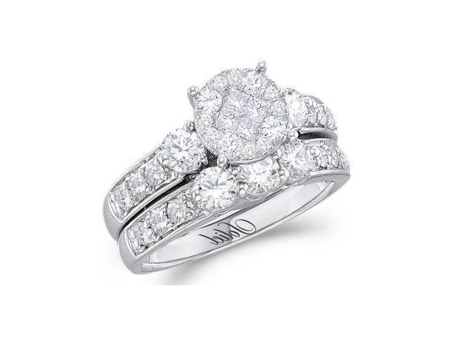 Diamond Engagement Ring Bridal Wedding Set 14k White Gold (1.47 Carat)