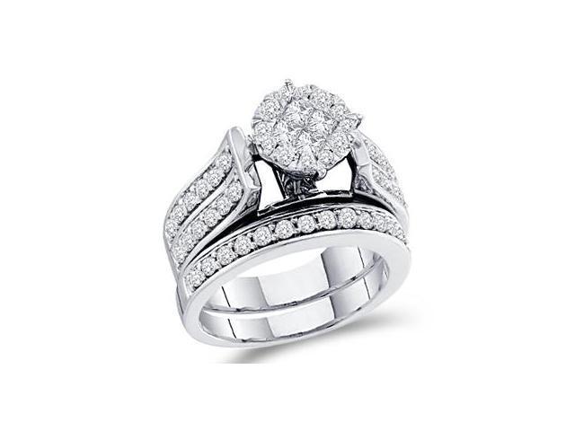 Diamond Engagement Rings Set 14k White Gold Wedding Band (1.49 Carat)