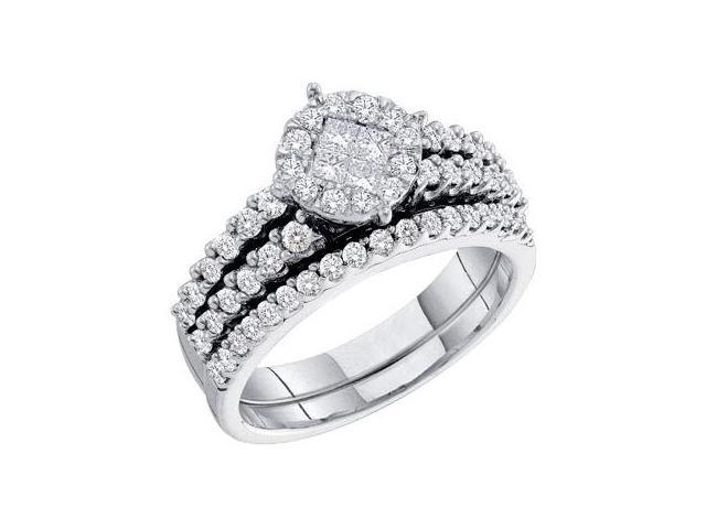 Diamond Engagement Rings Set Wedding Band 14k White Gold (1.02 Carat)