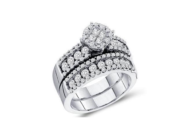 Bridal Diamond Engagement Ring Wedding Band 14k White Gold (1.72 CT)