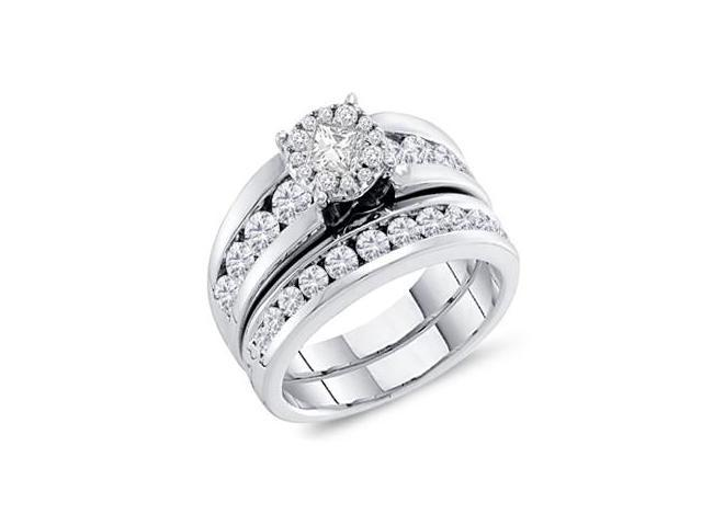 Bridal Diamond Engagement Ring Wedding Band 14k White Gold (1.76 CT)
