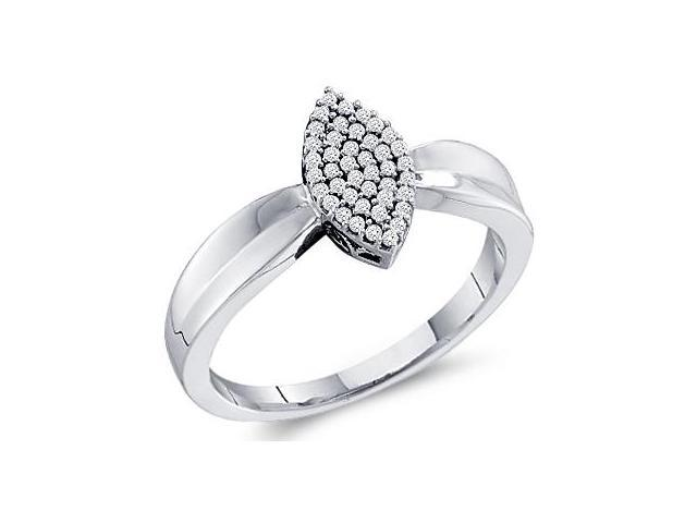 Diamond Ring Marquise Setting 10k White Gold Anniversary (0.12 Carat)