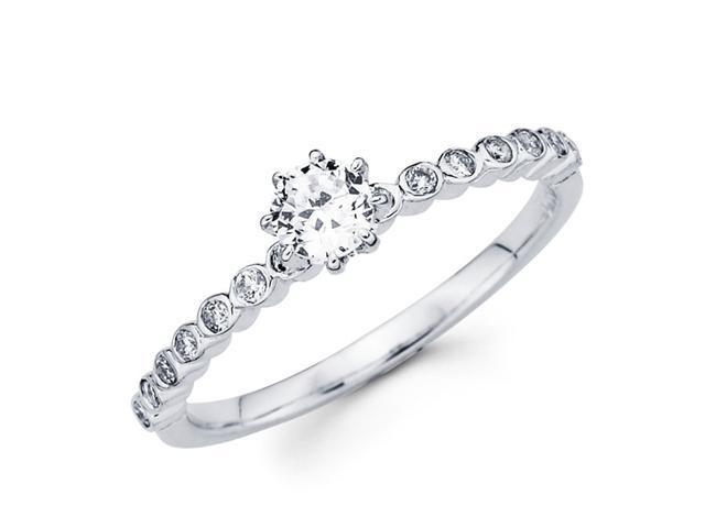 Semi Mount Bezel Round Diamond Engagement Ring 18k White Gold 0.15 CTW