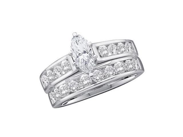 Marquise Diamond Engagement Rings Set 14k White Gold (1.00 Carat)