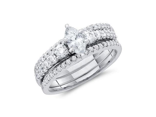 Marquise Diamond Engagement Rings Wedding Set 14k White Gold (1.00 CT)