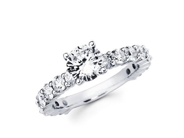 Semi Mount Eternity Diamond Engagement Ring 18k White Gold (1.65 CTW)