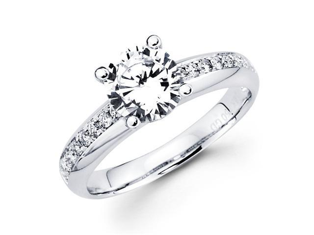 Semi Mount Diamond Engagement Ring 18k White Gold Bridal Round 0.17 CT