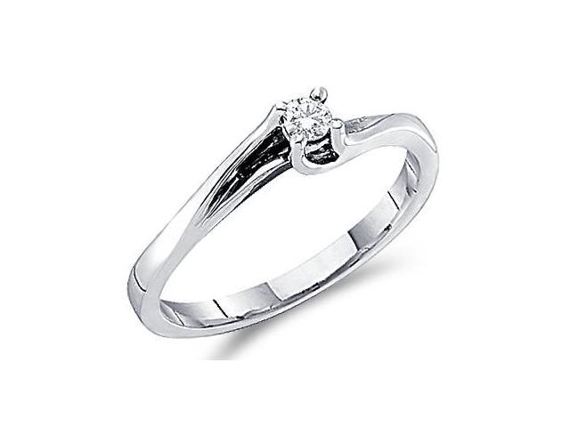 Solitaire Diamond Engagement Ring Round 14k White Gold (0.09 Carat)