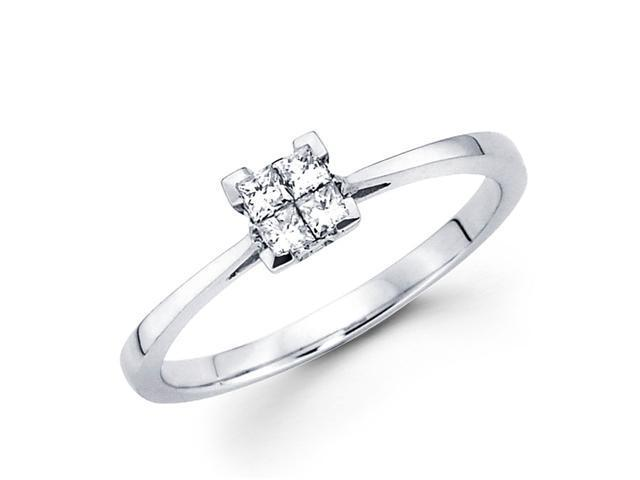 Square Princess Diamond Anniversary Ring 14k White Gold Solitaire Set
