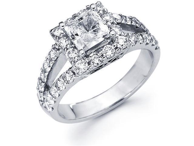 Semi Mount Diamond Ring 14k White Gold Square Basket V Shape Setting