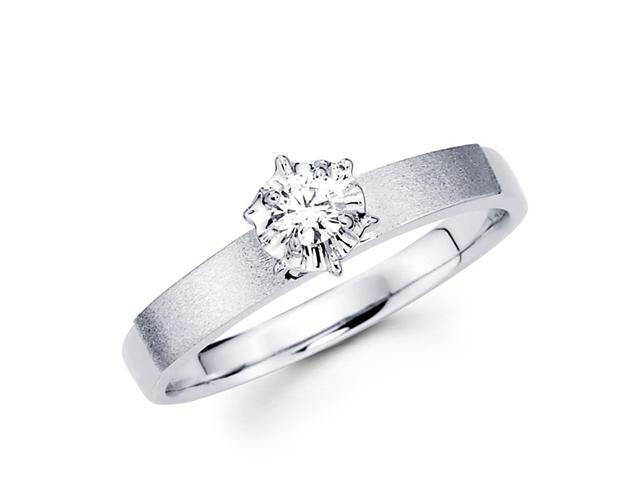 Diamond Engagement Ring Round Solitaire 14k White Gold Bridal (1/10ct)