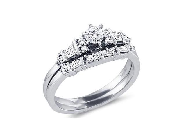 Diamond Engagement Rings Set Wedding Band 14k White Gold (1/2 Carat)