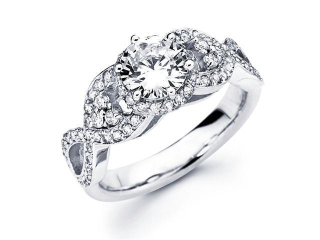 Semi Mount Diamond Engagement Ring 18k White Gold Round Pave Setting