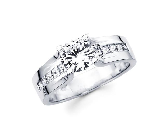 Semi-Mount Engagement Diamond Ring Princess 14k White Gold (1/2 Carat)