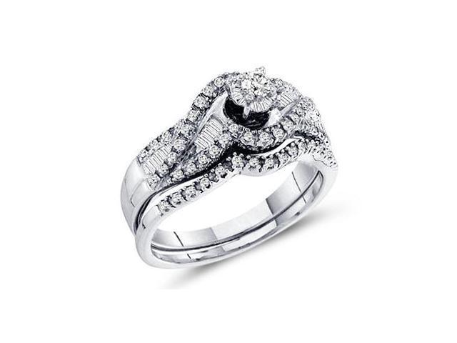 Bridal Diamond Engagement Rings Set Wedding Band 14k White Gold 1/2 CT