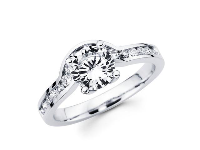 Semi Mount Diamond Engagement Ring 18k White Gold Bridal Round (1/3ct)