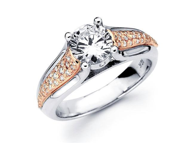 Semi Mount Diamond Engagement Ring Pave Set 18k White Rose Gold 1/4 CT