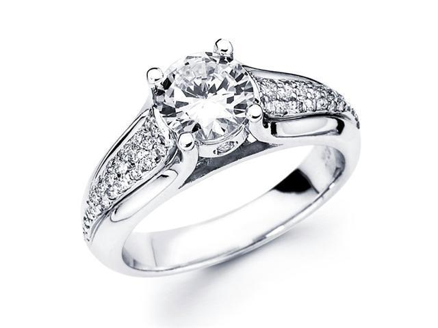 Semi Mount Diamond Engagement Ring 18k White Gold Pave Setting (1/4ct)