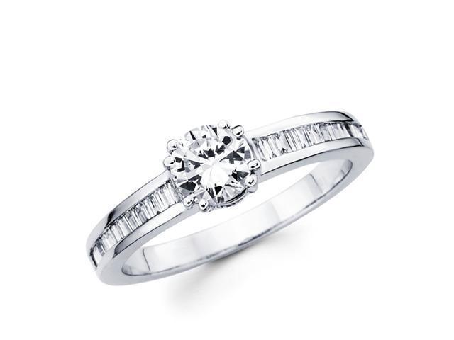 Semi Mount Diamond Engagement Ring 18k White Gold Bridal (1/3 Carat)