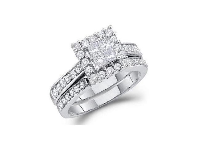 Engagement Diamond Rings Set Wedding Band 14k White Gold (1.00 Carat)