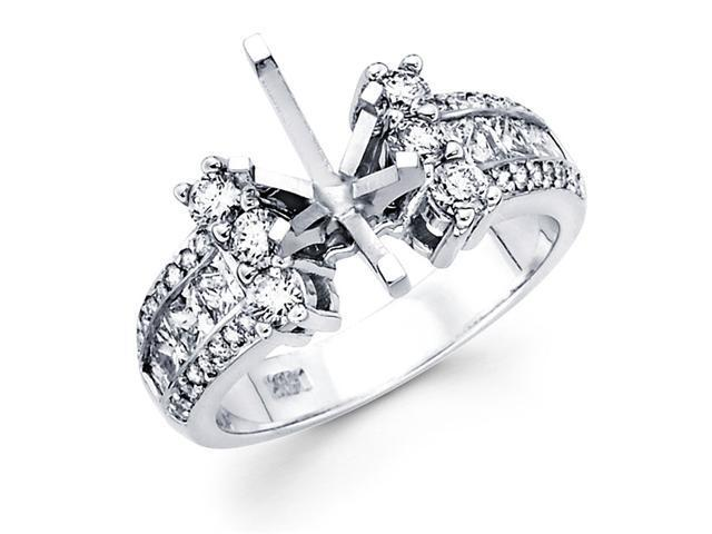 Semi Mount Diamond Engagement Ring 14k White Gold Channel Pave Setting