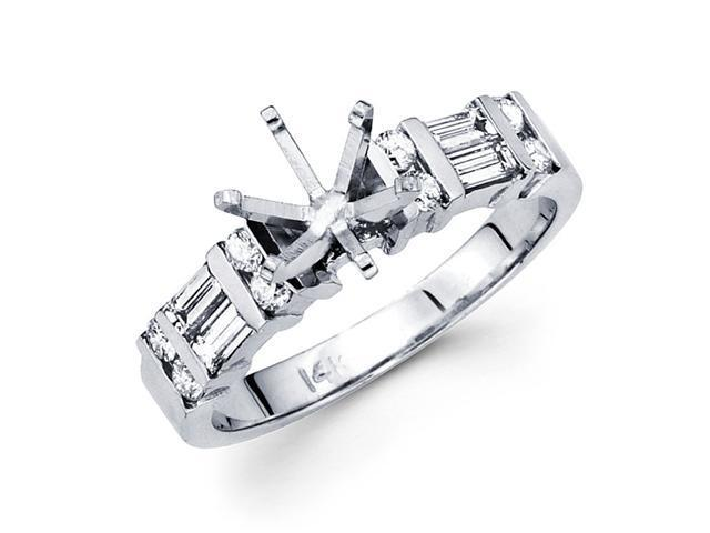 Setting with Sidestones Diamond Engagement Ring 14k White Gold Bar Set