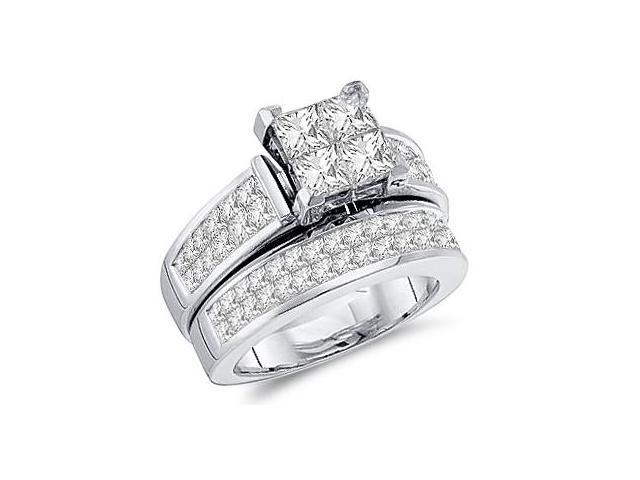 Princess Diamond Engagement Rings Bridal Set 14k White Gold (3.00 CT)