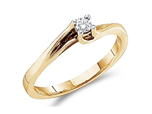 Solitaire Diamond Engagement Ring Round 14k Yellow Gold (0.09 Carat)